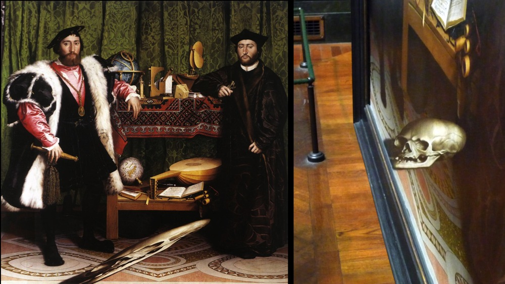 Hans Holbein's painting, The Ambassadors, with its anamorphic skull.
