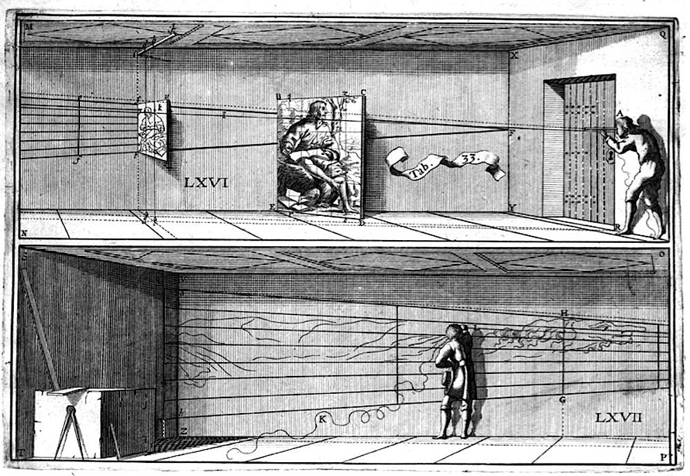 Jean François Niceron depicting himself in the act of drawing an anamorphic image, from La Perspective Curieuse.