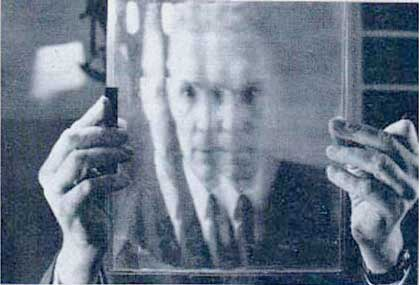 The curiously intense Professor Maurice Bonnet and his lenticular sheet. It's Science!