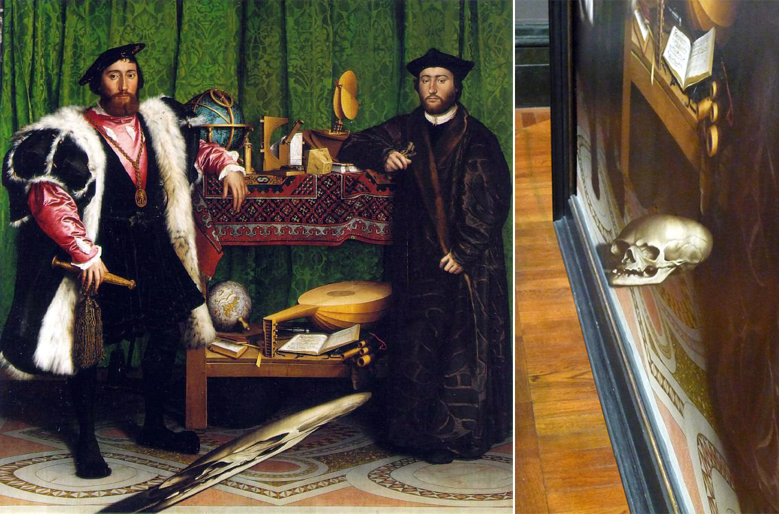 Hans Holbein, The Ambassadors (1533). The lower foreground is dominated by an unknown object.When seen from the correct oblique viewpoint, the object is revealed as a skull.