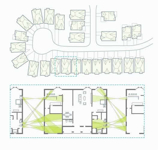 The typical suburban site plan, with deep street setbacks but close neighbors, fosters voyeuristic tendencies.