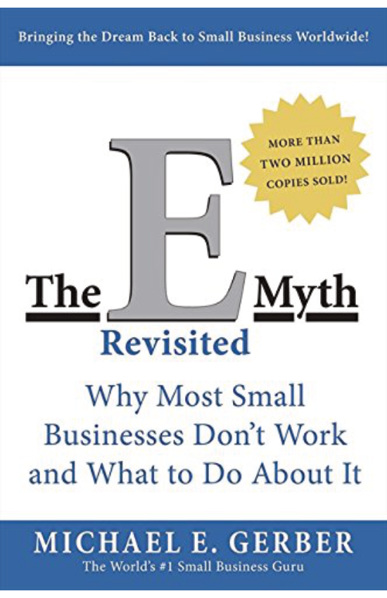 The E-Myth Revisited  by Michael Gerber   Michael Gerber dispels the myths surrounding starting your own business and shows how commonplace assumptions can get in the way of running a business. He walks you through the steps in the life of a business from entrepreneurial infancy, through adolescent growing pains, to the mature entrepreneurial perspective, the guiding light of all businesses that succeed.  He then shows how to apply the lessons of franchising to any business whether or not it is a franchise. Finally, Gerber draws the vital, often overlooked distinction between working on your business and working in your business.