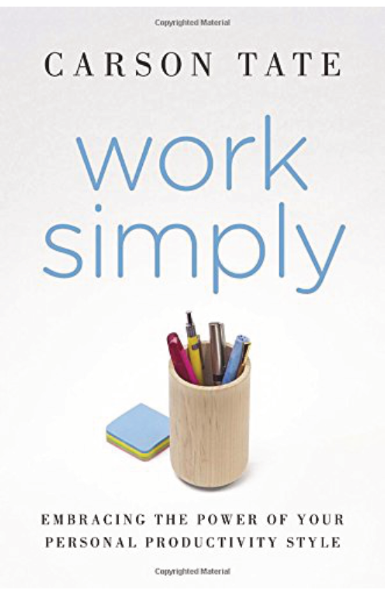 Work Simply  by Carson Tate   If you sometimes feel you spend more time managing your productivity than doing actual work, it's time for a change. In  Work Simply , renowned productivity expert Carson Tate offers a step-by-step guide to making work simple again by using the style that works best for you.  Tate has helped thousands of men and women better manage their time and become more productive. Her success owes partly to the realization that most of us fit into one of four distinct productivity styles.