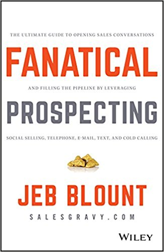 Fanatical Prospecting  by Jeb Blount    Fanatical Prospecting  gives salespeople, sales leaders, entrepreneurs, and executives a practical, eye-opening guide that clearly explains the why and how behind the most important activity in sales and business development—prospecting.  The brutal fact is the number one reason for failure in sales is an empty pipe and the root cause of an empty pipeline is the failure to consistently prospect. By ignoring the muscle of prospecting, many otherwise competent salespeople and sales organizations consistently underperform.  Step by step, Jeb Blount outlines his innovative approach to prospecting that works for real people, in the real world, with real prospects.  Learn how to keep the pipeline full of qualified opportunities and avoid debilitating sales slumps by leveraging a balanced prospecting methodology across multiple prospecting channels.