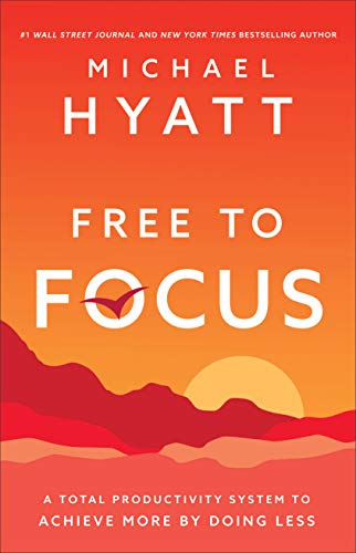 Free to Focus  by Micael Hyatt   Everyone gets 168 hours a week, but it never feels like enough, does it? Work gobbles up the lion's share—many professionals are working as much as 70 hours a week—leaving less and less for rest, exercise, family, and friends. You know, all those things that make life great.  Most people think productivity is about finding or saving time. But it's not. It's about making our time work for us. Just imagine having free time again. It's not a pipe dream.   New York Times  bestselling author Michael Hyatt reveals to readers nine proven ways to win at work so they are finally free to succeed at the rest of life—their health, relationships, hobbies, and more.  He helps readers redefine their goals, evaluate what's working, cut out the nonessentials, focus on the most important tasks, manage their time and energy, and build momentum for a lifetime of success.