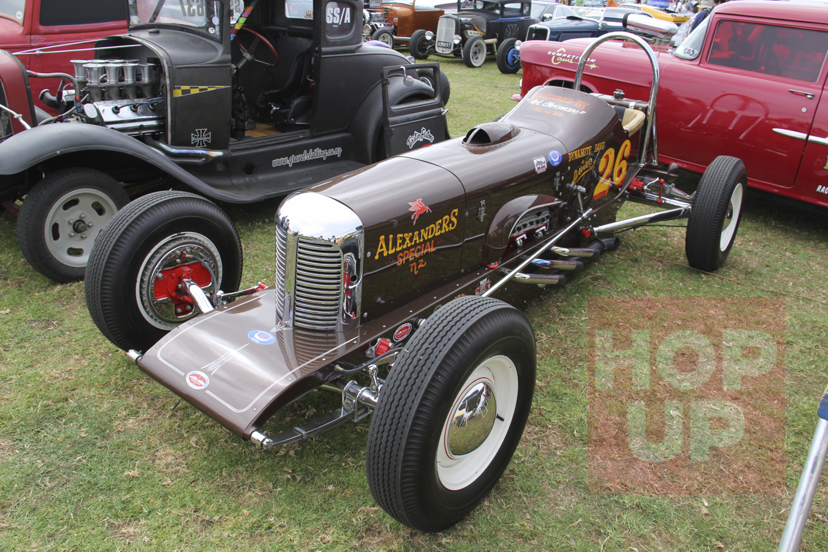 Dave Alexander always admired the Art Chrisman No.25 dragster so he cloned it calling it the Alexander Special. Its street registered and been drag raced, dirt tracked, showed and has also run at Bonneville.