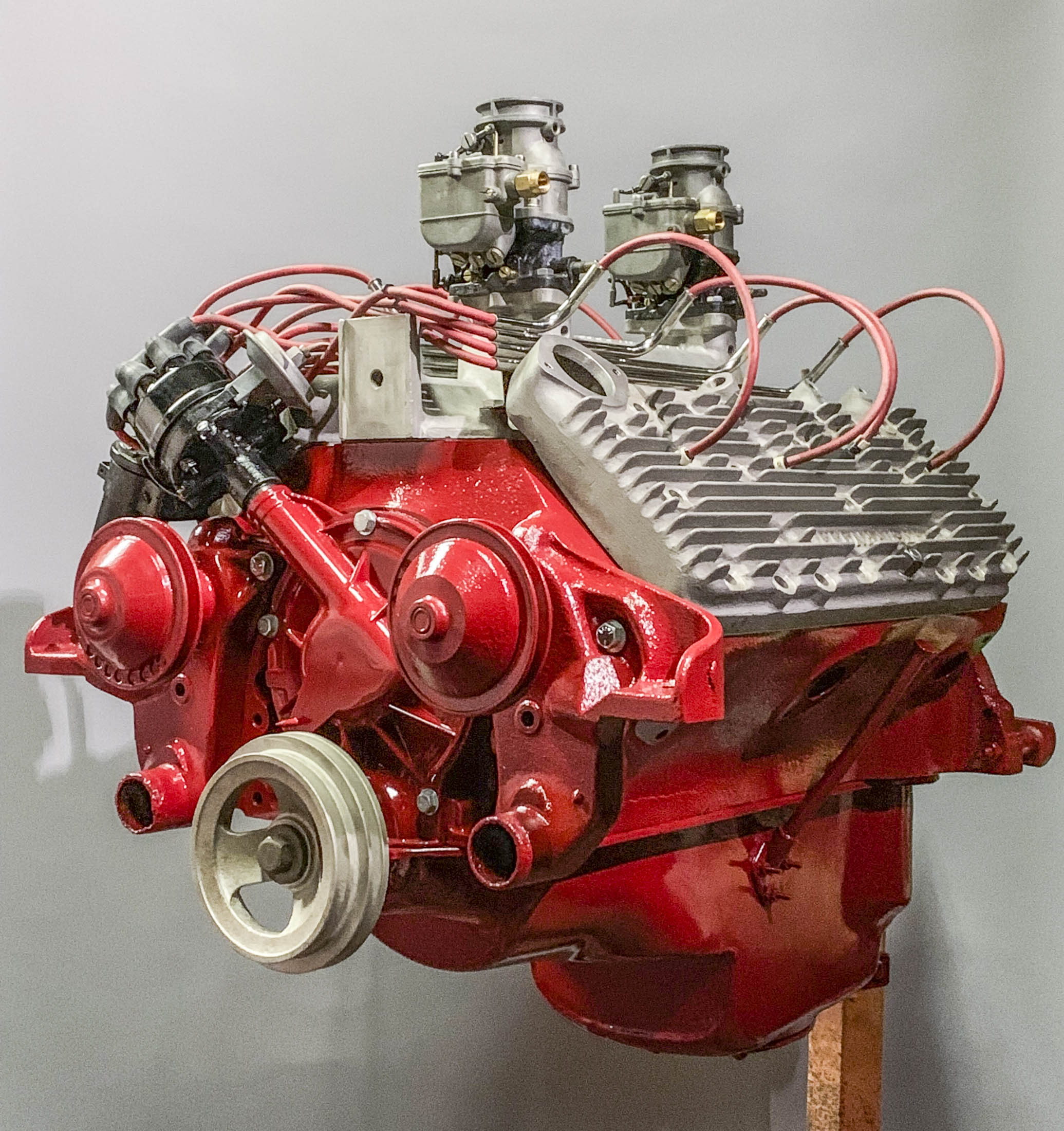 8ba fitted with a merc crank (4 inch stroke) .030 over , max one cam , All new speed parts from  Offenhauser Equipment  Adjustable lifters , hardened seats and on and on , bunch of good stuff