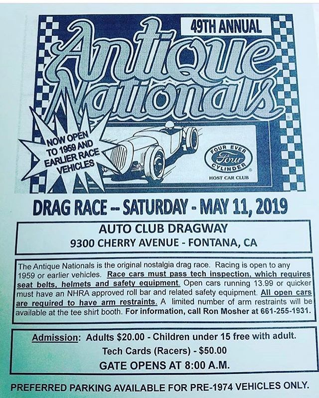@antique_nationals is this Saturday at Fontana, always a great time with racing open to 59 and earlier cars along with a car show area. Hope to see everyone out there. #hopuplive #antiquenationals