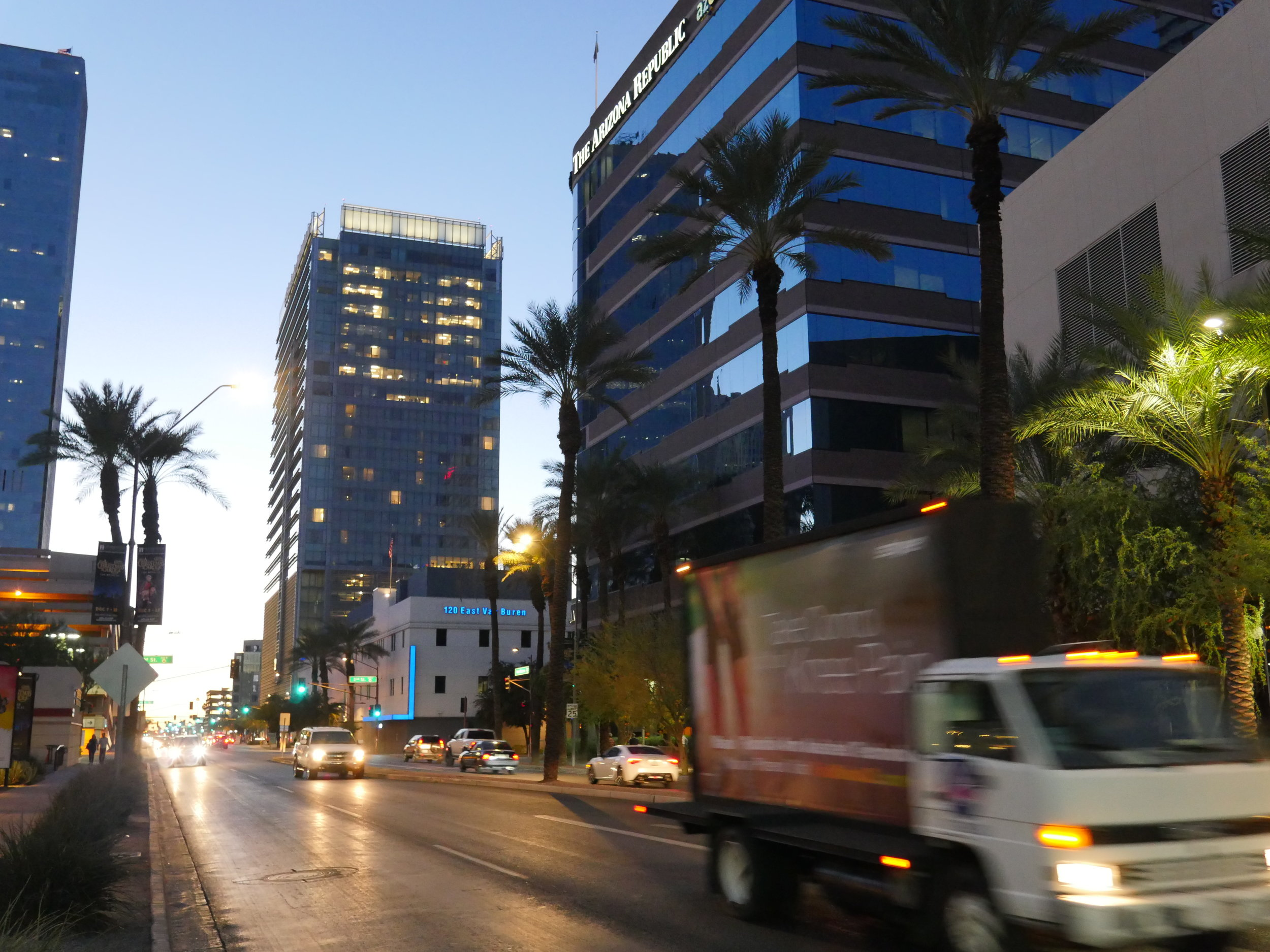 Traffic whizzes past the Arizona Republic Building on Nov. 18, 2017 in Downtown Phoenix.
