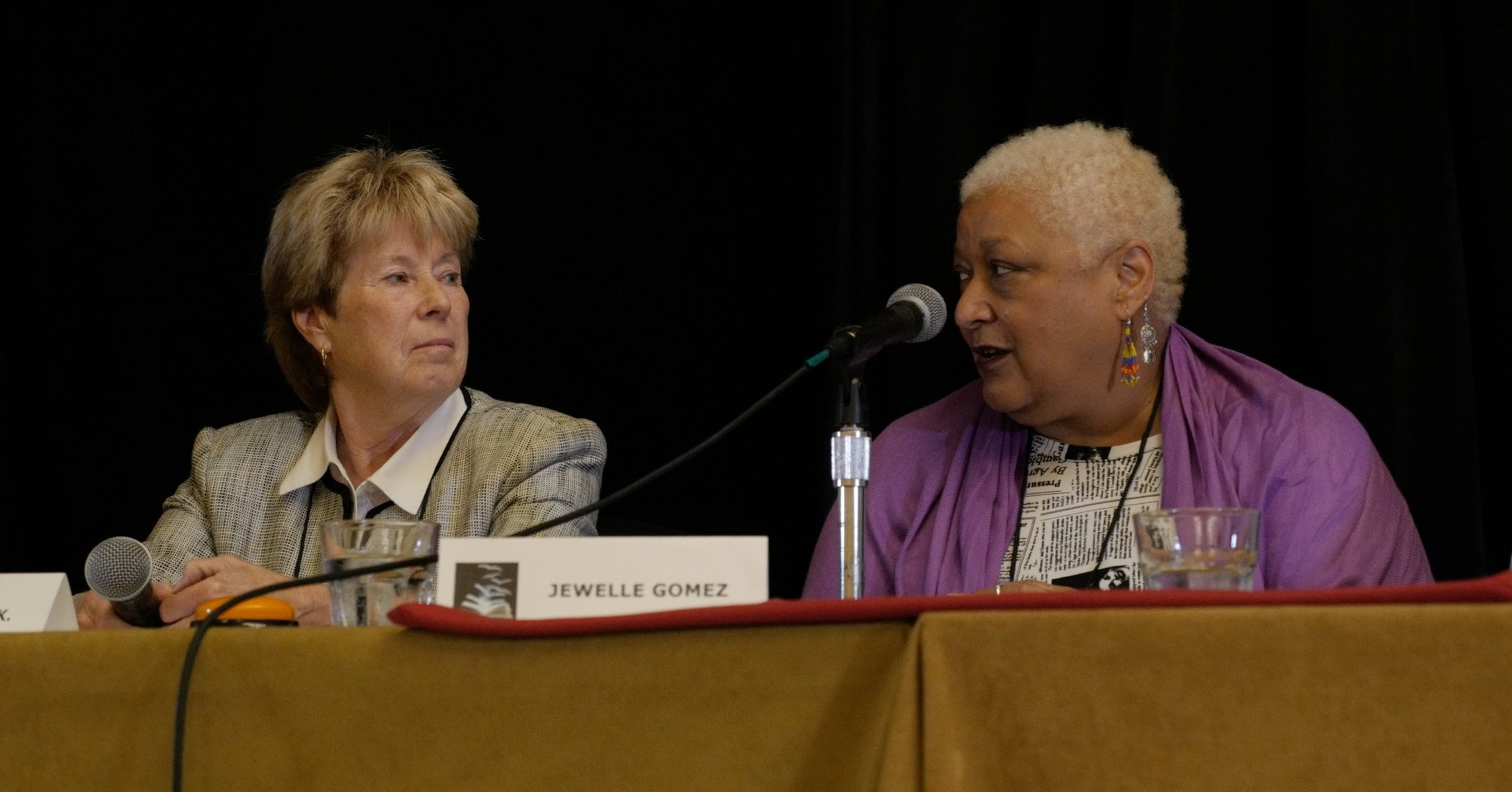 Marianne K. Martin and Jewelle Gomez at a round table discussion during the GCLS 2016 Conference