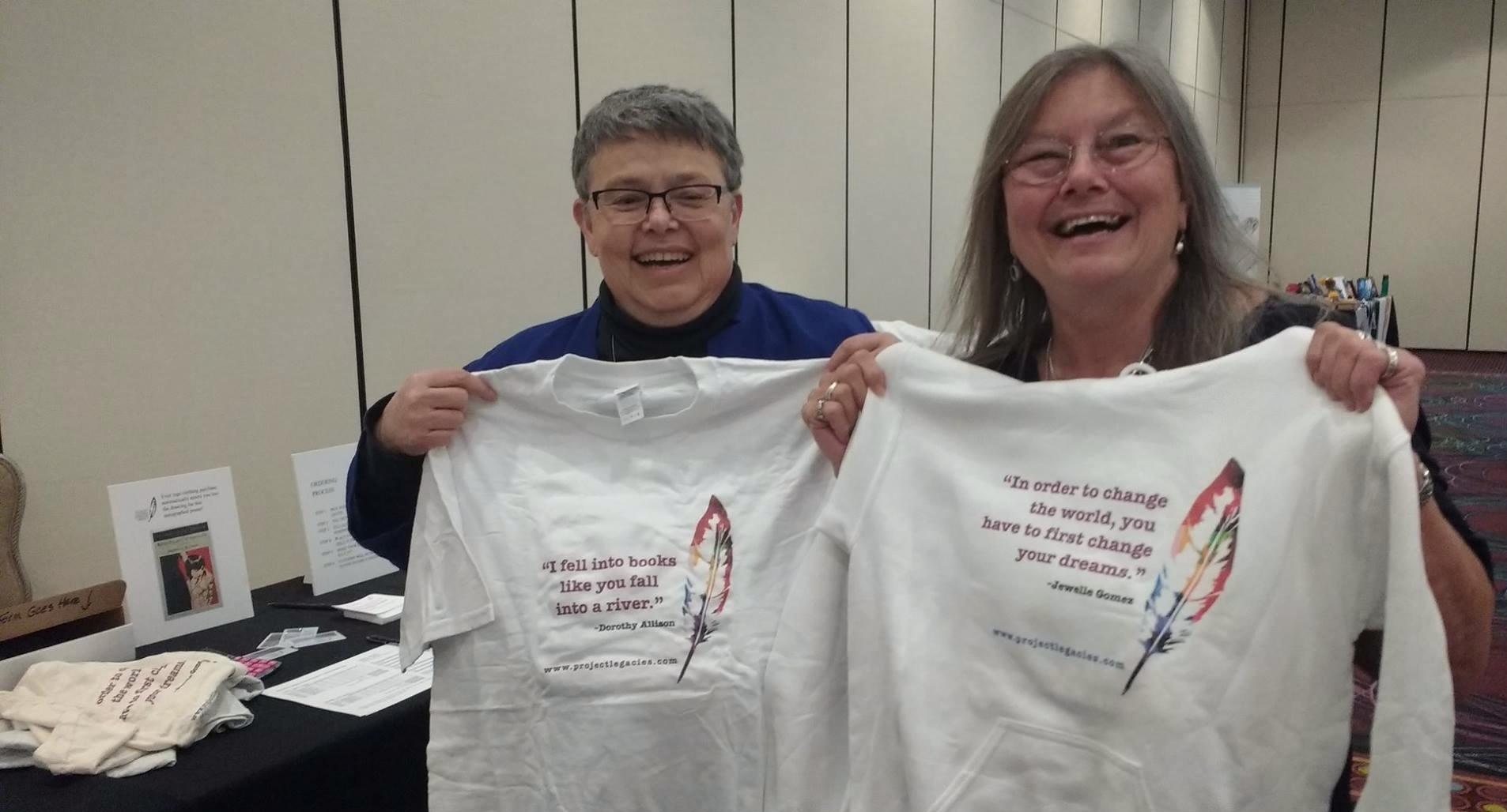 Elana Dykewomon & Dorothy Allison, sporting logowear.