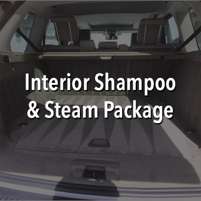 First we remove all loose dirt and debris from the vehicles interior with a powerful vacuum. CarPro Inside Leather & Interior Cleaner is then used with a mini rotary tool and brushes to remove dirt, sweat, built up body oils, dried sunblock and other lotions, and all other manners of interior soiling on all interior surfaces. Next, we clean and sanitize the surfaces, seats, floors, and floormats with steam. Think Dry Cleaning for your vehicles interior. After the surfaces are cleaned, steam is blown through the A/C vents for sanitation. Leather, vinyl, and rubber in the interior are then wiped down and protected with CarPro PERL, providing high grade UV protection while maintaining the supple feel and original color of the treated surfaces. PERL Coat revives dull, faded rubber, plastics, vinyl, acrylic, and leather. These surfaces are left with a non-greasy, non-sticky satin shine that is just as beautiful as it is beneficial. This includes the dash, consoles/cupholders, door panels, and leather seats. The interior windows are then cleaned. Lastly, Cquartz Fabric Coating is applied to fabric seats and floormats to protect against liquids, dirt, body oils and water, extending the life of the material.