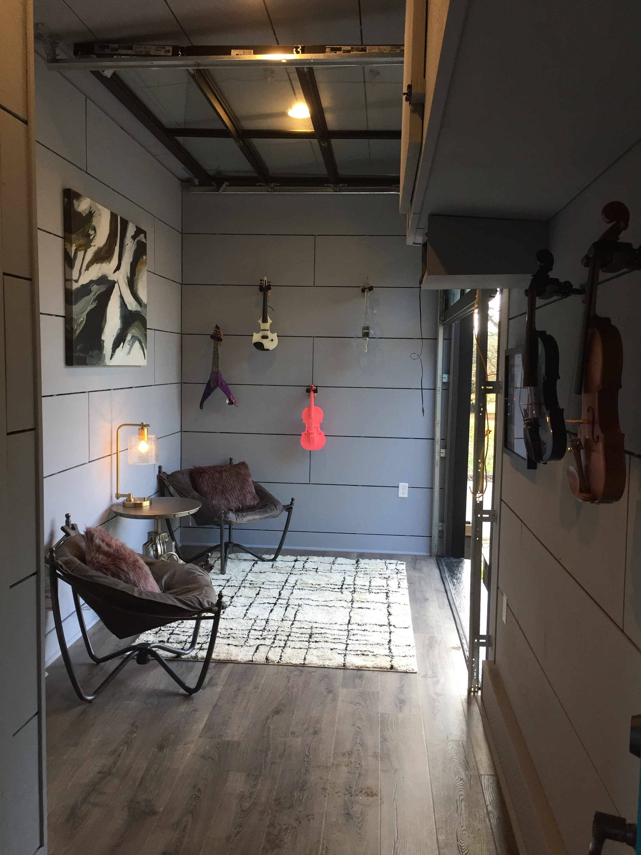 Music trailer/recording space/guest bedroom. The inside is insulated with recycled denim.