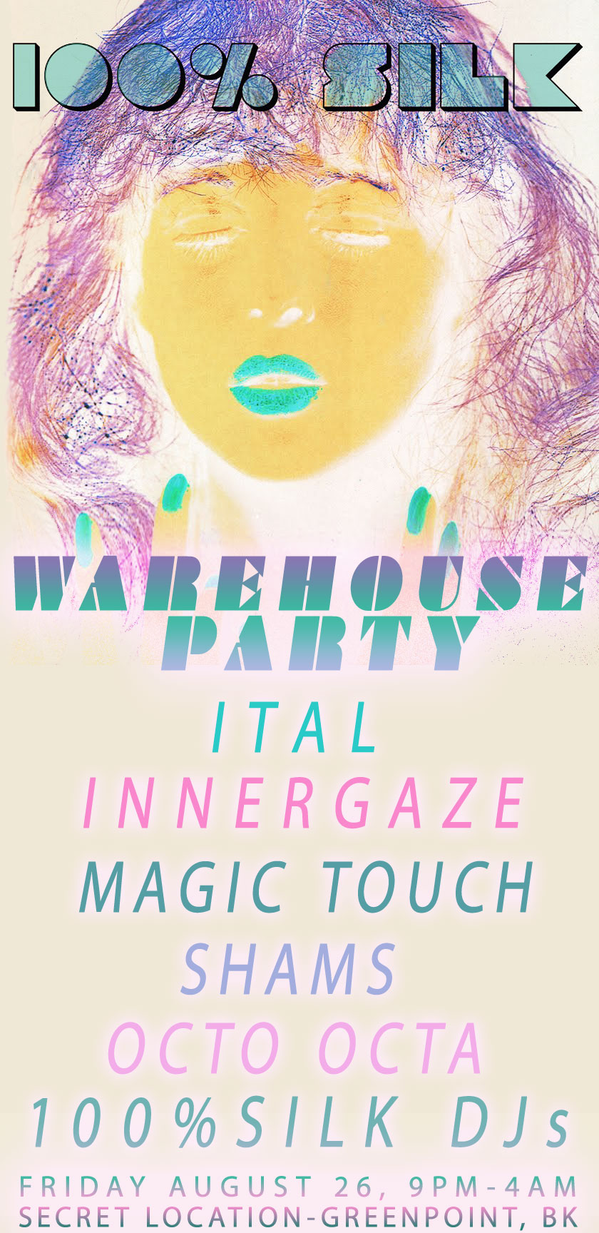 100% Silk Warehouse Party: Ital, Innergaze, Magic Touch, Shams, Octo Octa  August 2011
