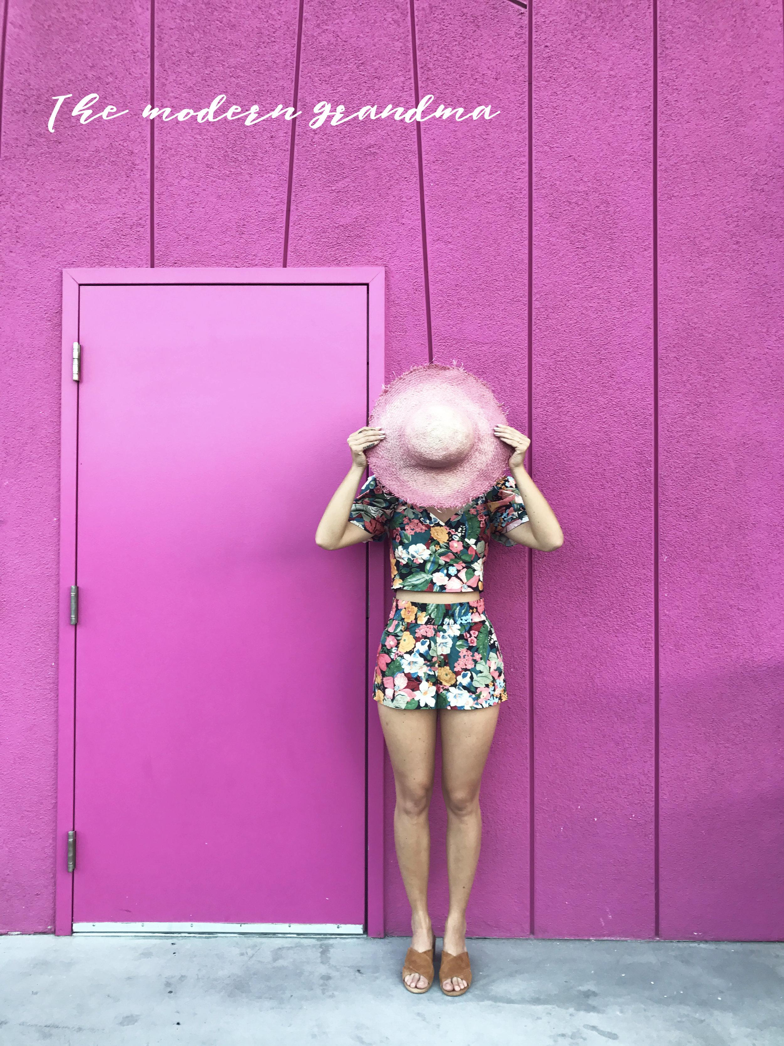 Zara floral top and short set / Pali Swim Cabana hat /  Catherine Malandrino Slides