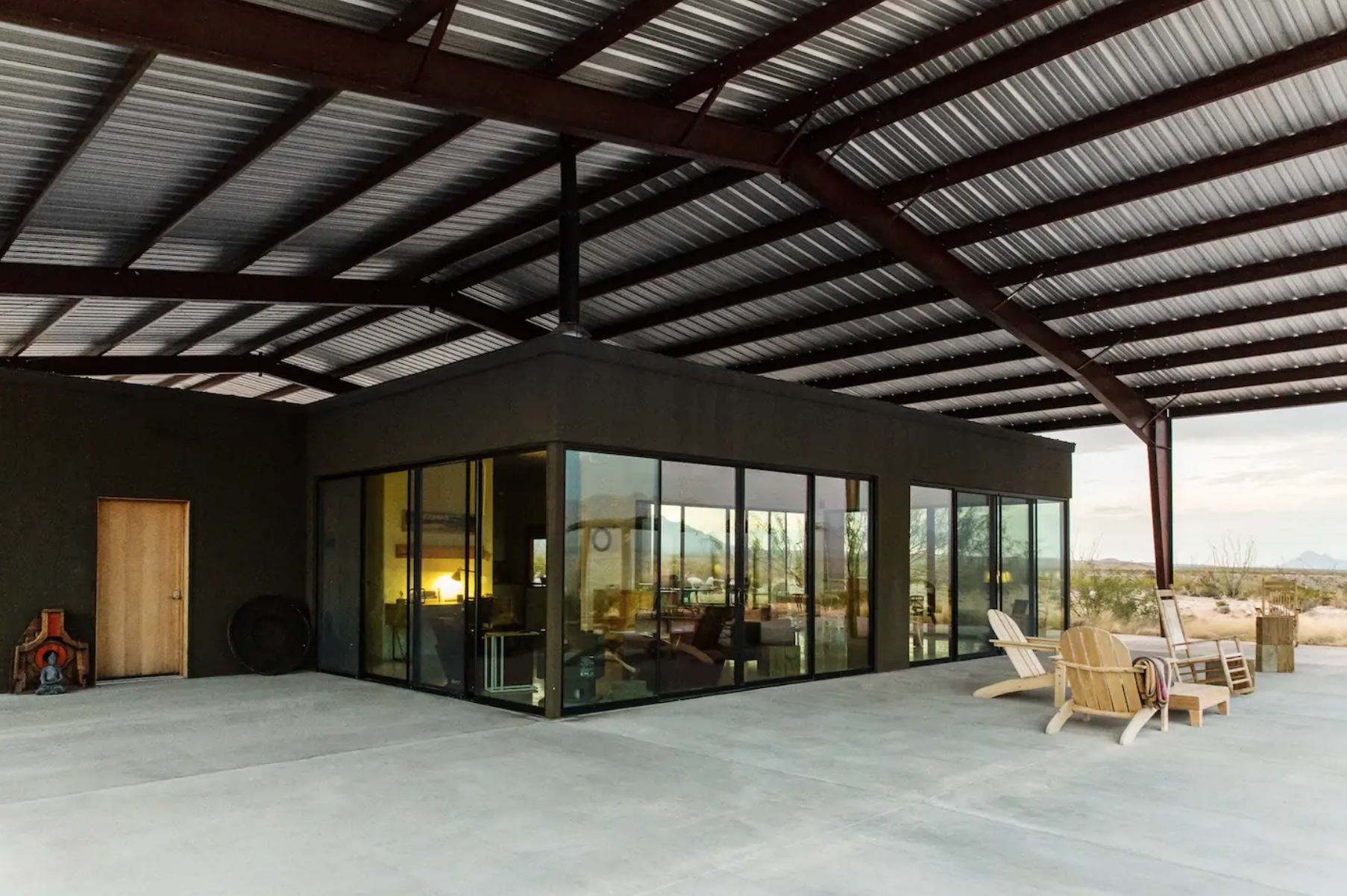 This  Modern Solar  dream home is outside of Marfa but def seems like worth the trek!  Photo via Airbnb