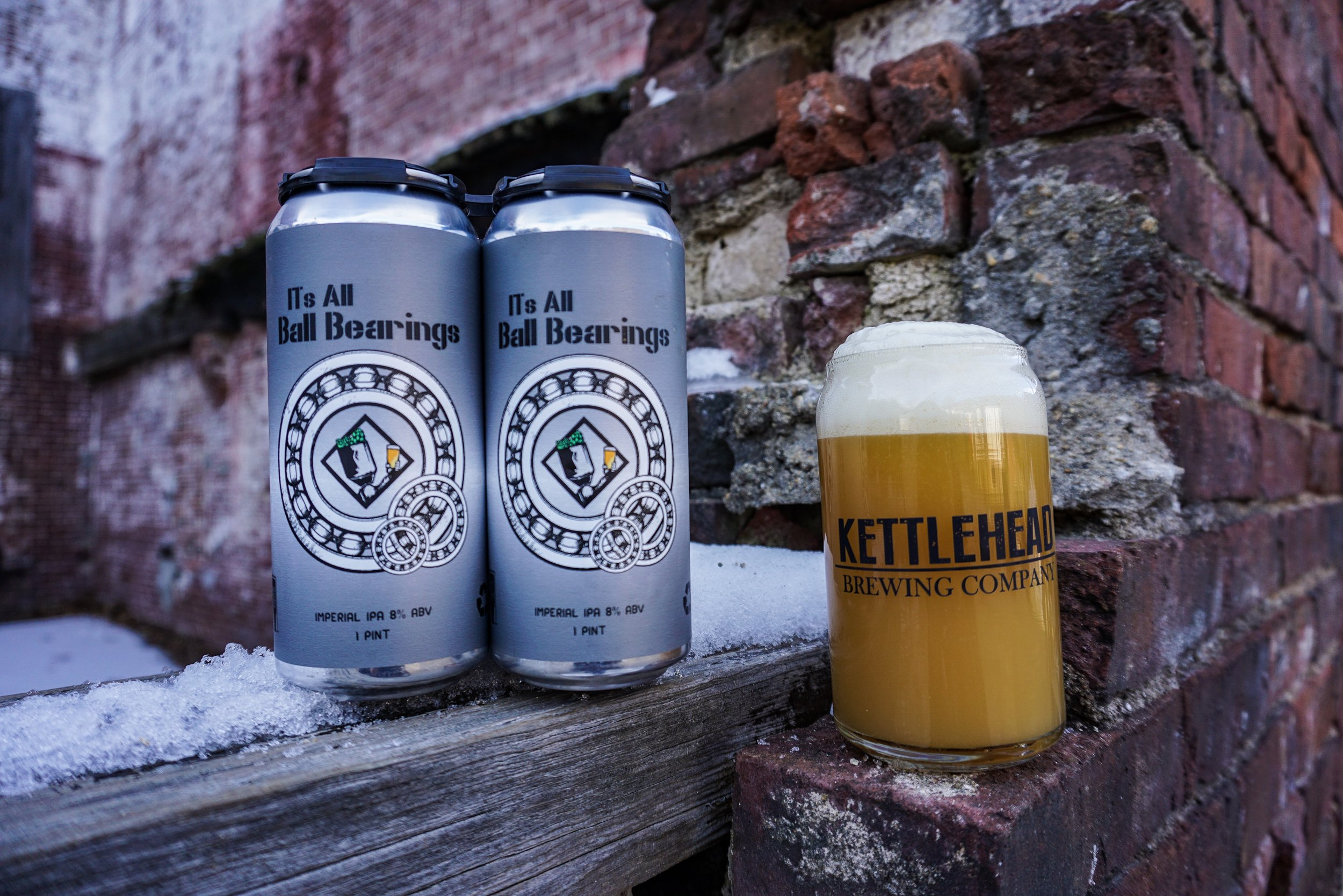 Its All Ball Bearings DIPA, 8% ABV - Another throw back homebrewing recipe. A new double ipa for the new year. Big mango, pineapple, and ripe tropical fruit flavors dominate the nose and pallet. Made with a new yeast profile, different from our other DIPAS. Simcoe, mosaic and citra hops.