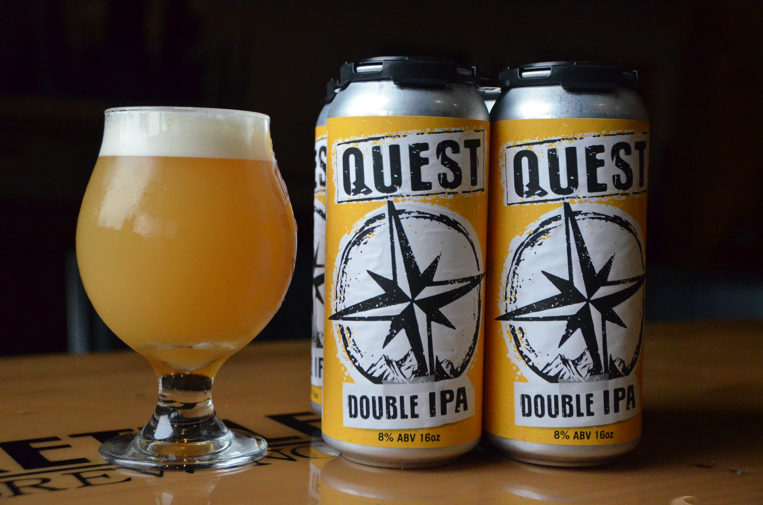 Quest, DIPA, 8% ABV - What is your Quest? Ours was to brew a juicy, dank, approachable double IPA, bursting with tropical fruit, mango, peach, pineapple. A combo of 4 different hops make up this complex double IPA