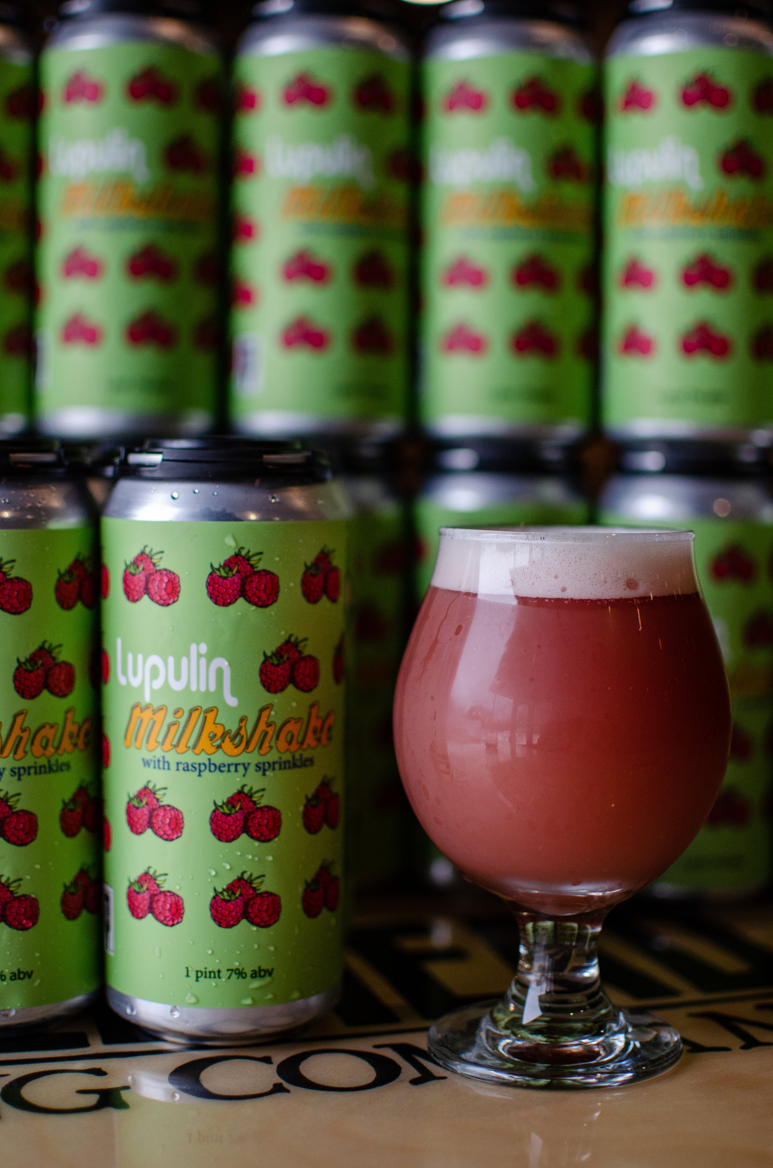 Lupulin Milkshake with Raspberry Sprinkles - A creamy, smooth and fruity IPA with raspberries, vanilla beans and lactose. El Dorado and Mosaic Hops.