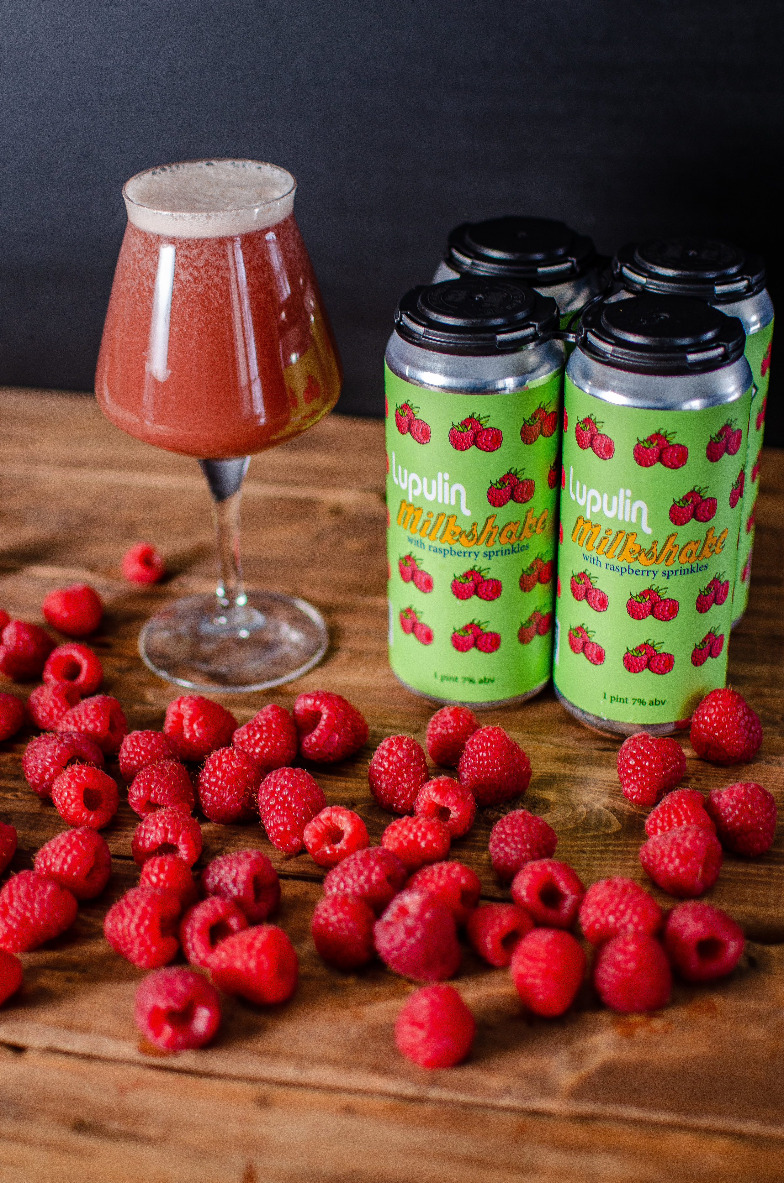 Lupulin Milkshake with Raspberry Sprinkles 7% - A creamy, smooth and fruity IPA with raspberries, vanilla beans and lactose. El Dorado and Mosaic Hops.