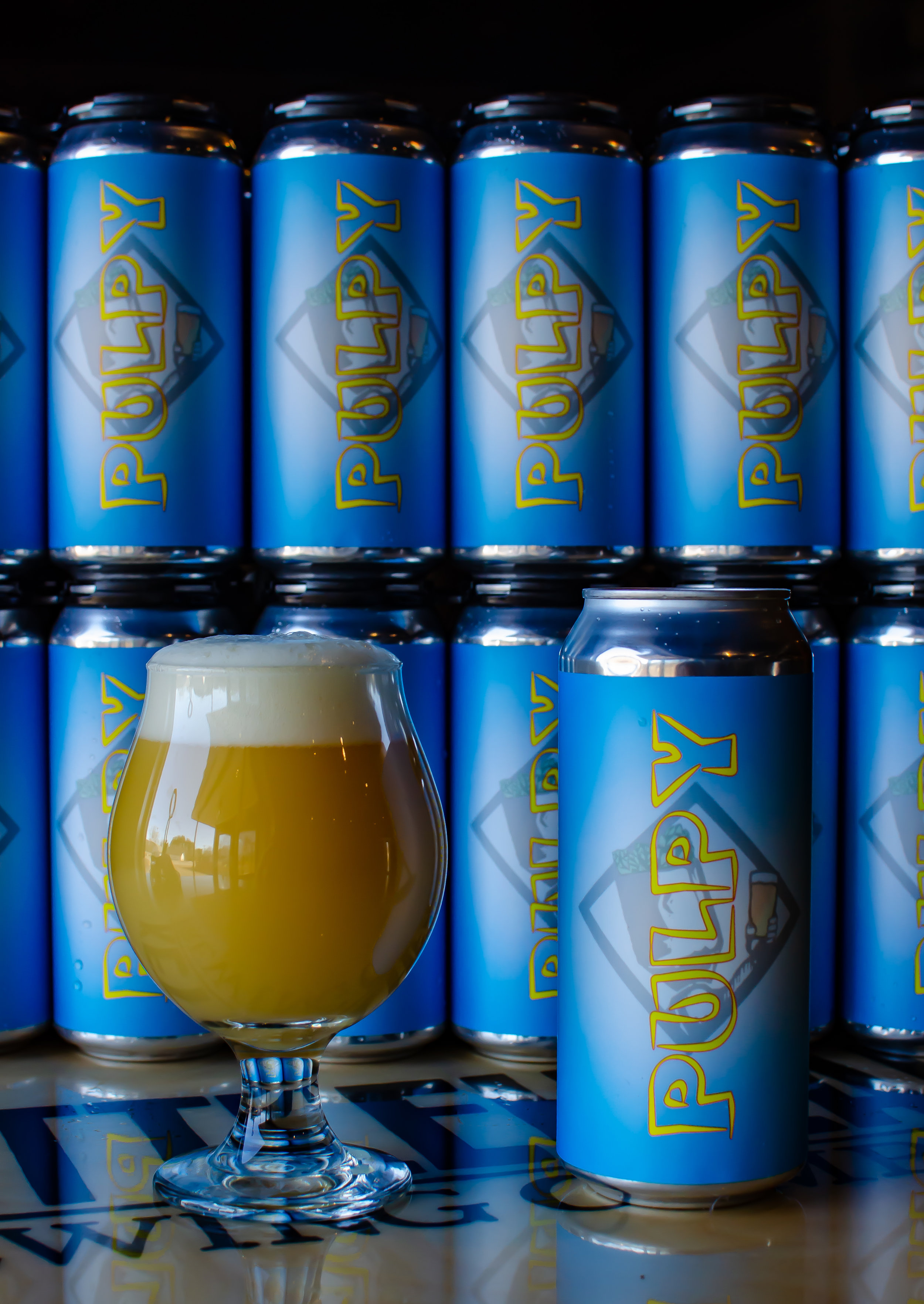 Pulpy IPA - PULPY is a triple dry hopped, 7% NEIPA. Layered with huge hop flavor, big orange juice that remains lively on your tongue. Dry, not overly sweet, but drinks bigger than it is. You might think Pulpy has fresh squeezed orange juice in it.....but trust us, this contains NO PULP. Cheers!