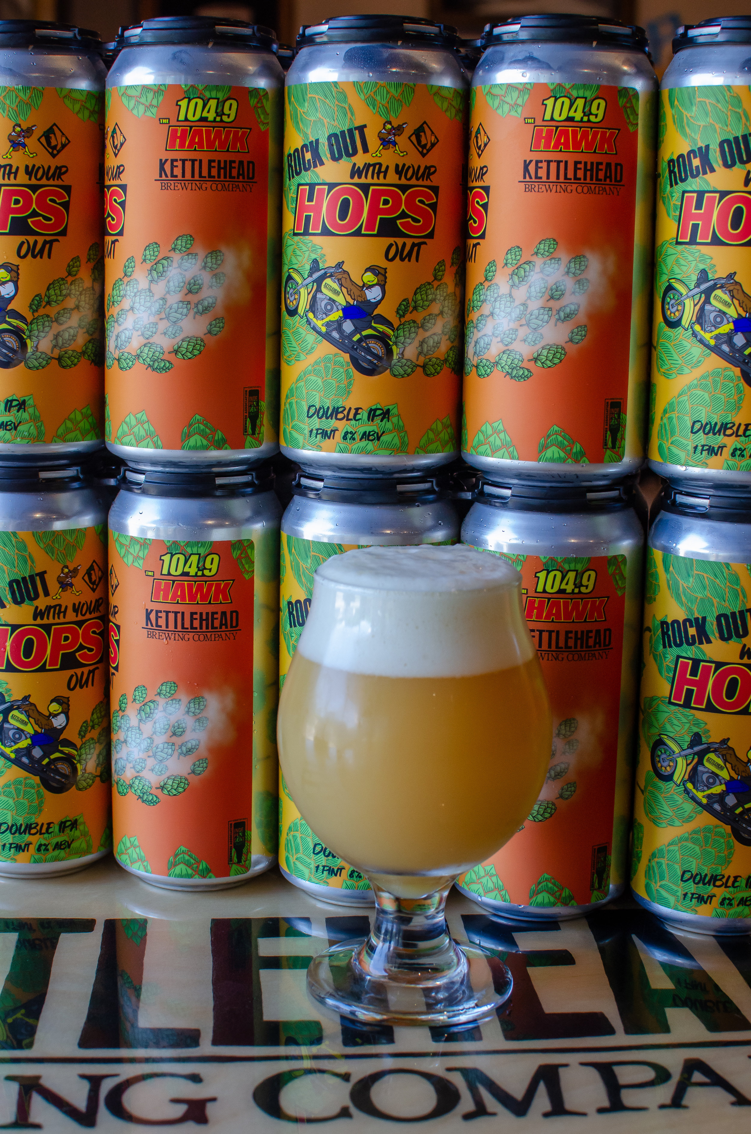 "Rock Out With Your Hops Out, DIPA, 8% - To celebrate 96 years of Laconia Motorcycle Week Rally and 15 years of 104.9 THE HAWK as the official Radio Station of #bikeweek, we're releasing ""Rock Out With Your Hops Out"" dipa"