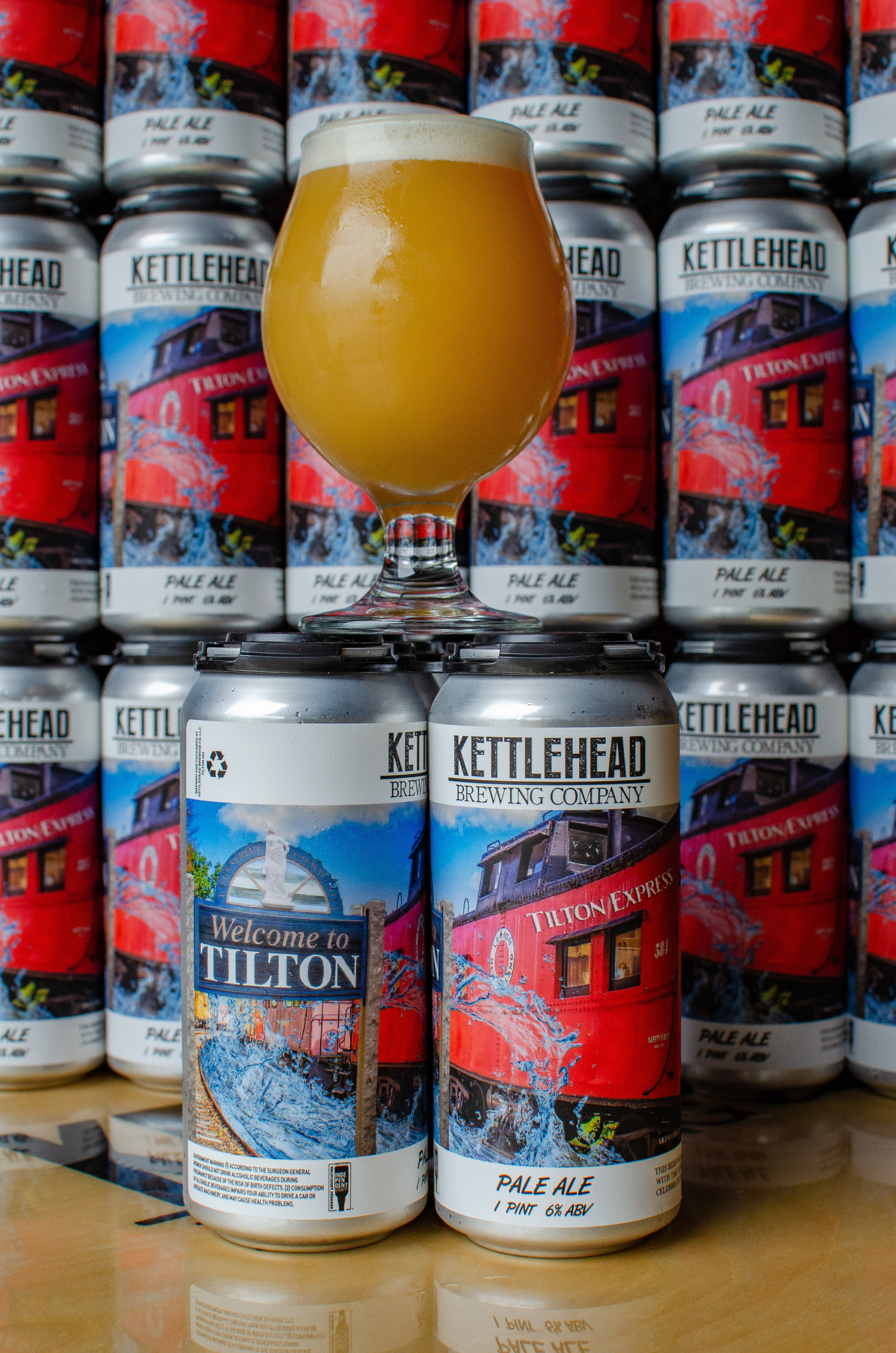 Tilton Express, Pale Ale, 6% - A beer brewed for Tilton Celebrates 150. Congrats to local artist Shawn Palmer for winning the Can Label Art Contest.