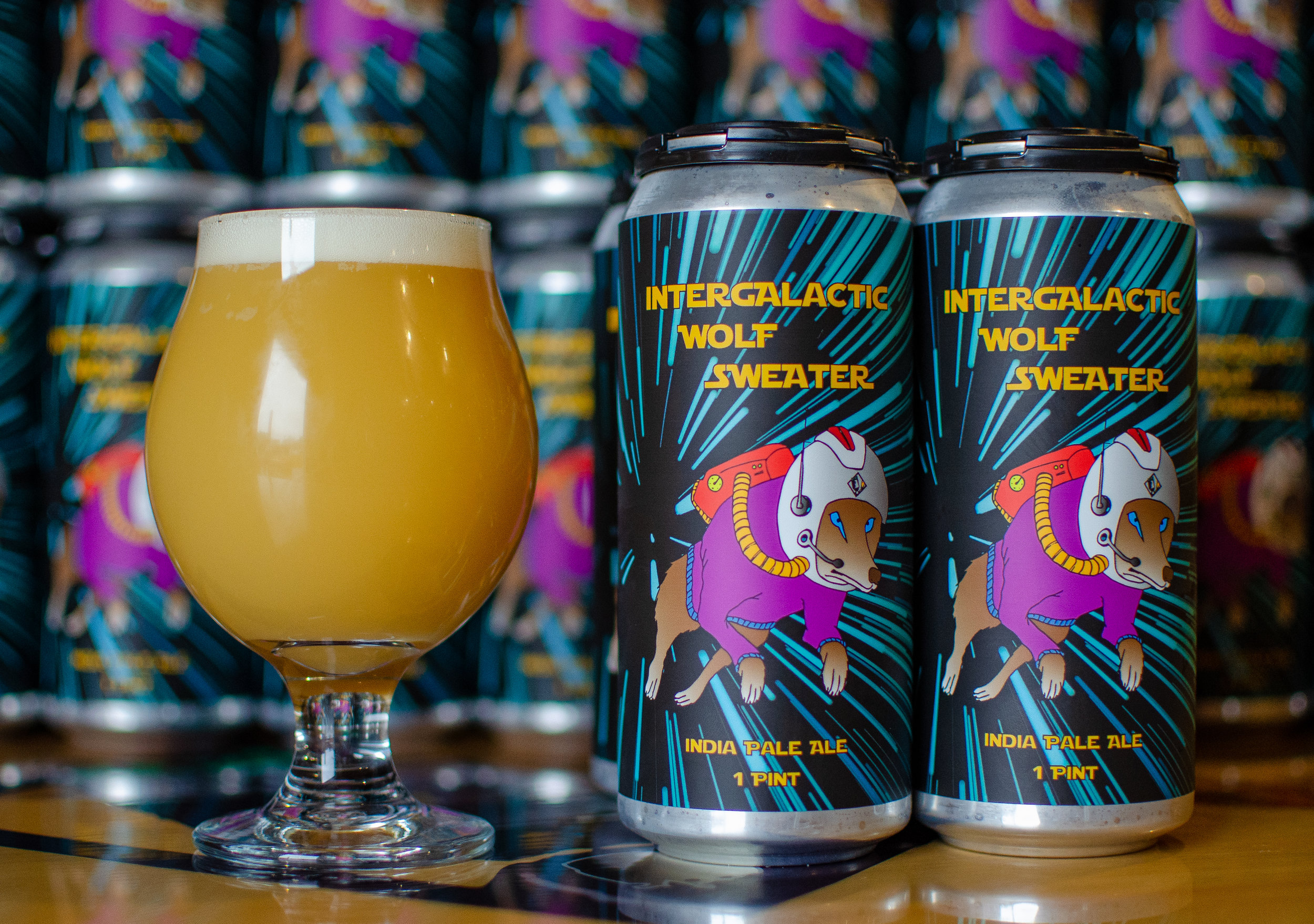 Intergalactic Wolf Sweater, DIPA - In a galaxy far, far away traveled a wolf named Styrian. His only protection; a beautiful cashmere sweater. Who doesn't like cashmere? No one! That's right, you wish you had one too, don't lie. He combs the universe seeking an IPA yet to be discovered, an IPA so juicy and delicious even George Lucas wouldn't pass this one up. An IPA Jabba The Nut would drool over...