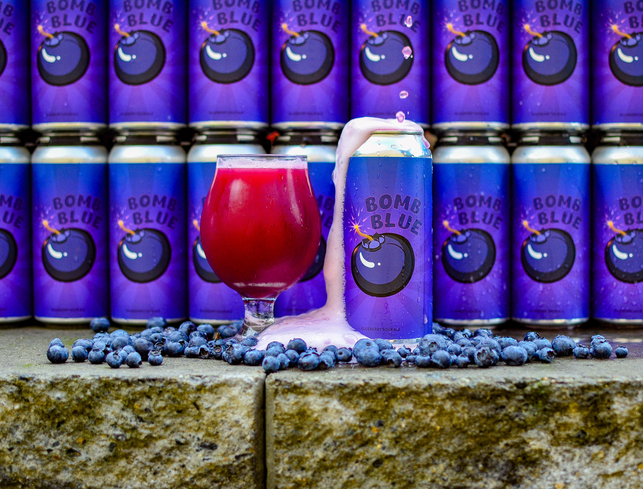 Bomb Blue, Sour Ale - A sour ale bursting with blueberries and tartness.