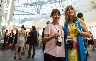 Associate, Cathy Senecal with travel writer Amy Rosen - GoMedia Canada Marketplace