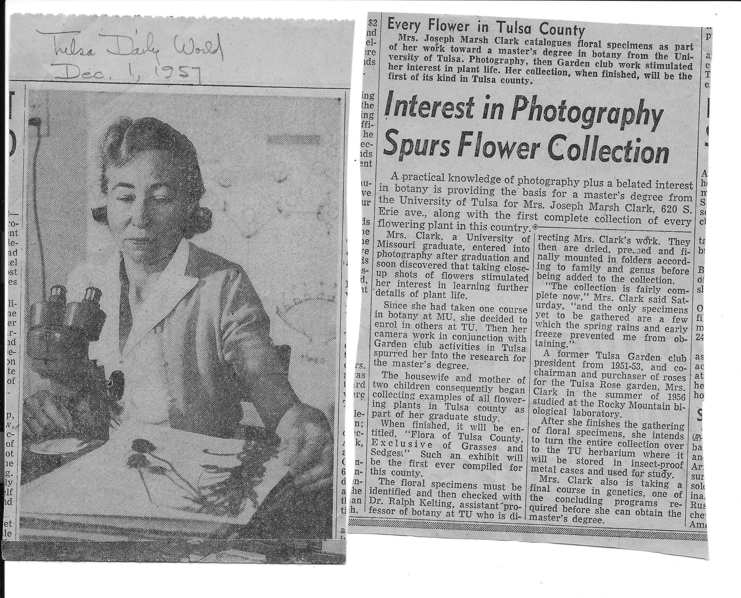 Maxine Clark, Tulsa World, 12-1-1957.jpg