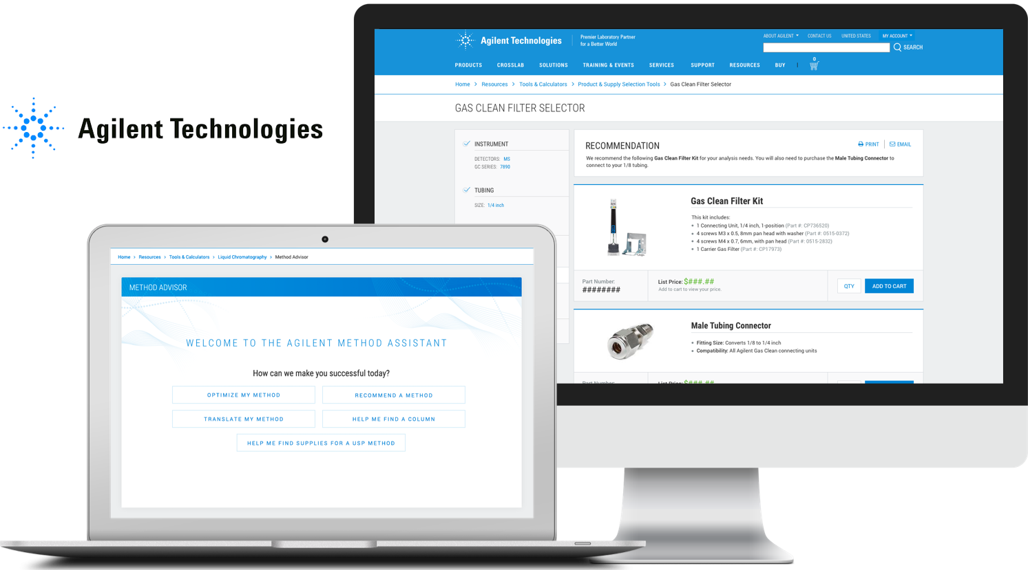 Agilent Guided Selling - Site-wide strategy and selection tool redesign to provide trusted solutions.