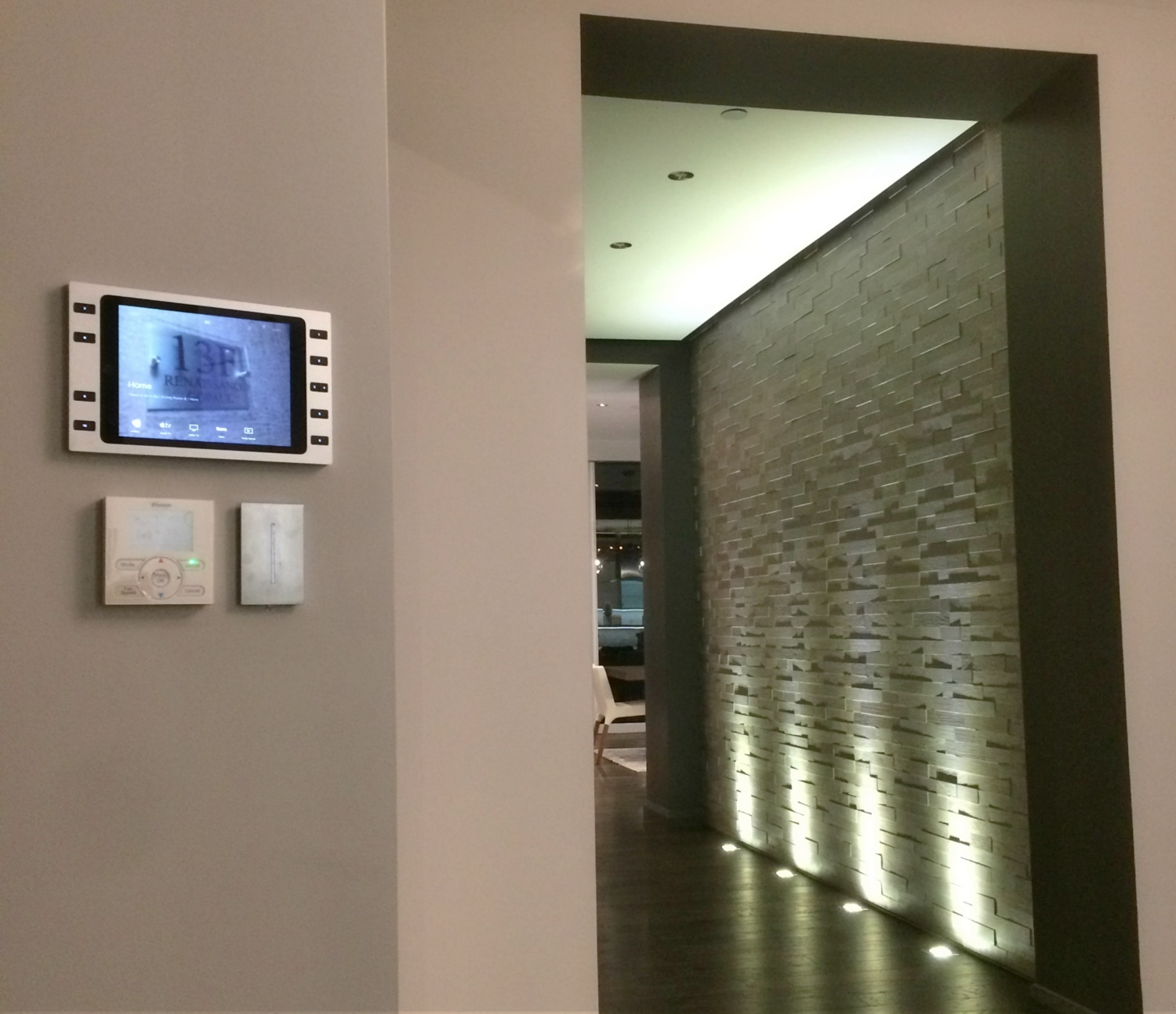 Savant Control and Lutron working together in this luxury apartment with flicker free LED lighting control