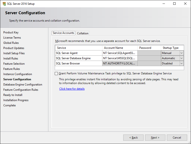 SQL 2016 Setup: Perform Volume Maintenance Task[s]