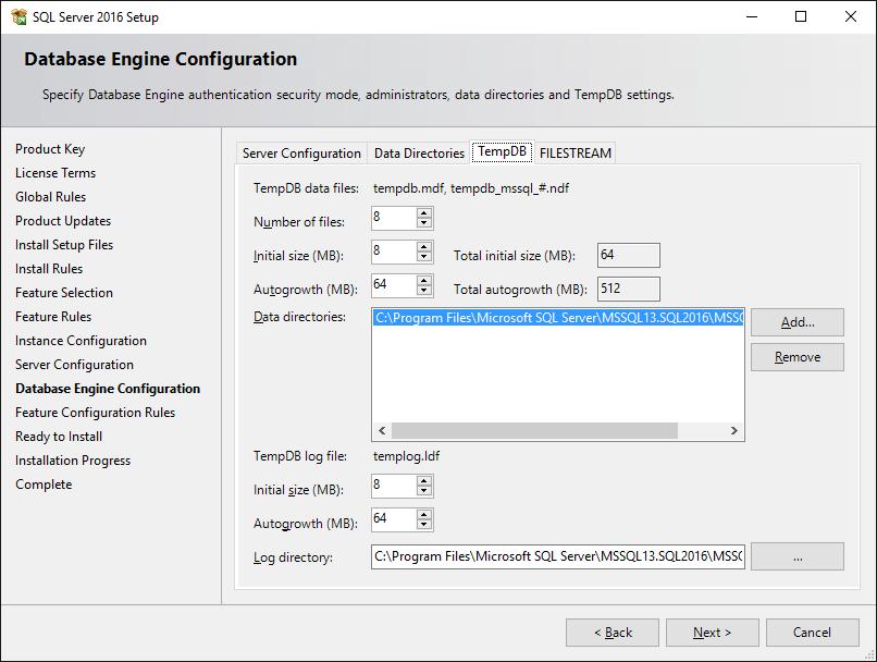 SQL Server 2016 Setup TempDB Configuration