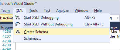 Generate an XML schema from the open XML file
