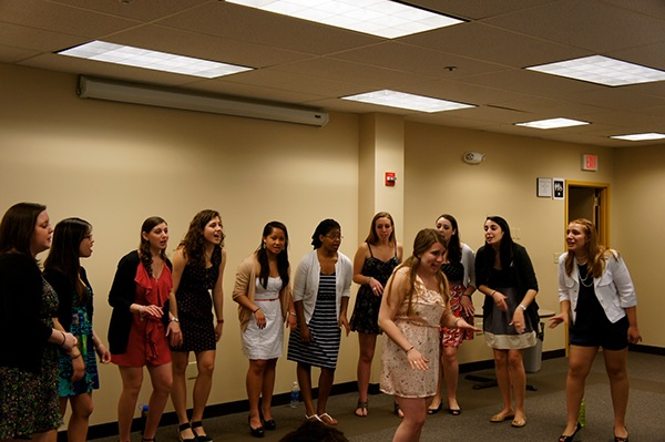 """Jackie Vingan soloing our alumni song """"Unwritten"""" for the CHAI program for JF&CS in Waltham, MA"""