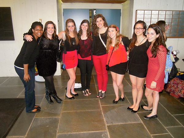 Touchtones pose before singing at the BU Sweethearts Charity Concert at BU.