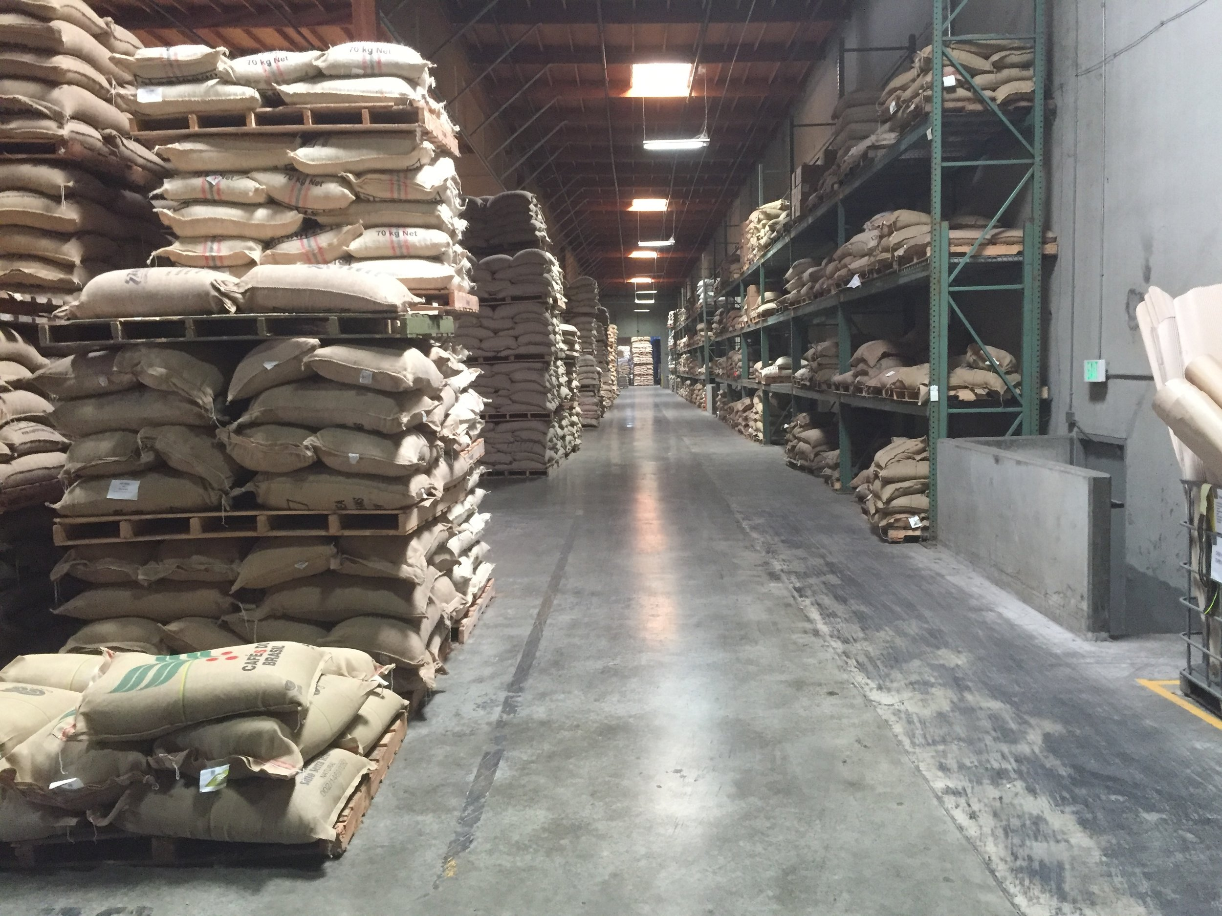Endless aisles of coffee at the Green Room.