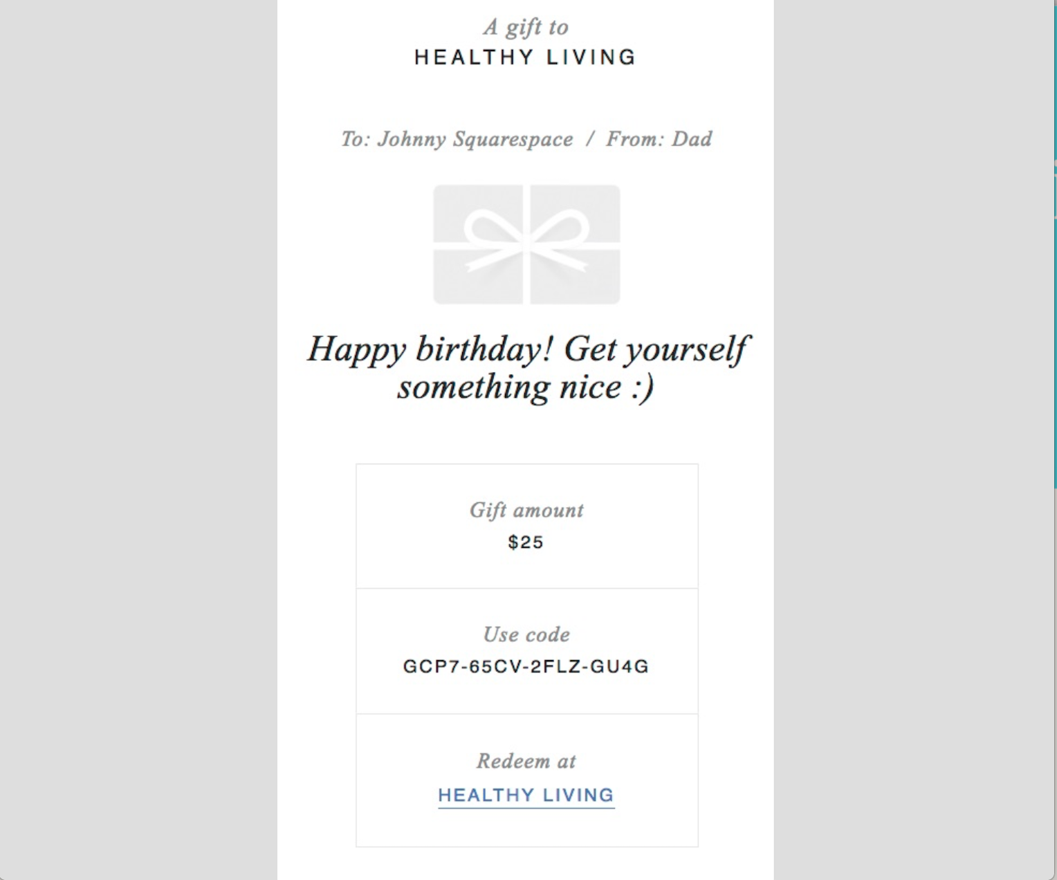 Foglifter Online Gift Card sample