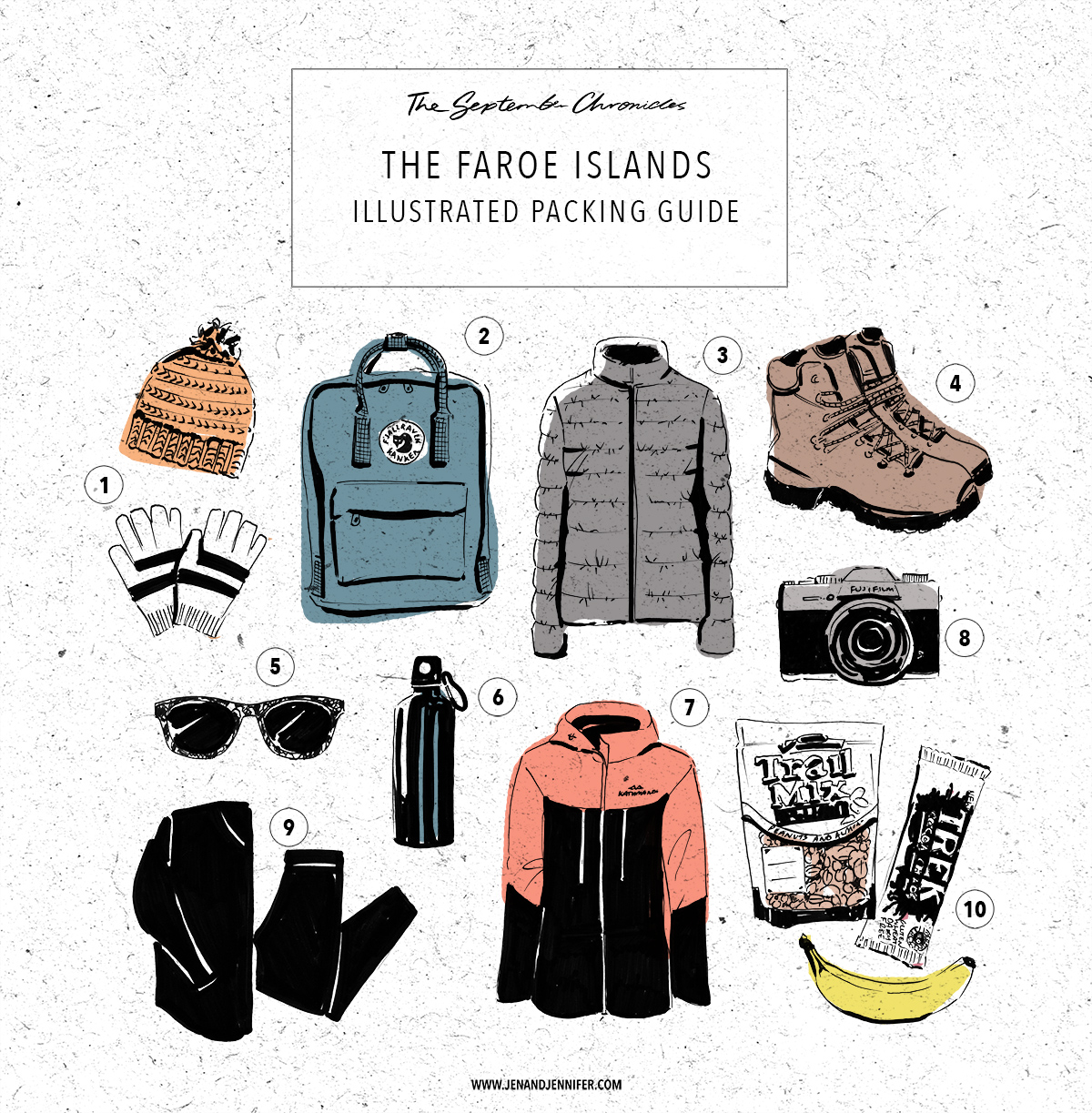 (1) Warm hat and Gloves (2) Backpack (3) Warm layers (4) Comfortable, waterproof walking boots (5) Sunglasses (6) Refillable Water bottle (7) Windproof and Waterproof Jacket (8) Camera (9)Thermal layers (10) Snacks