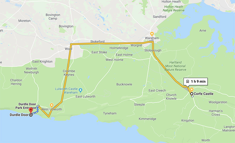 A map showing our destinations connected by the Breezer buses  (via google maps)