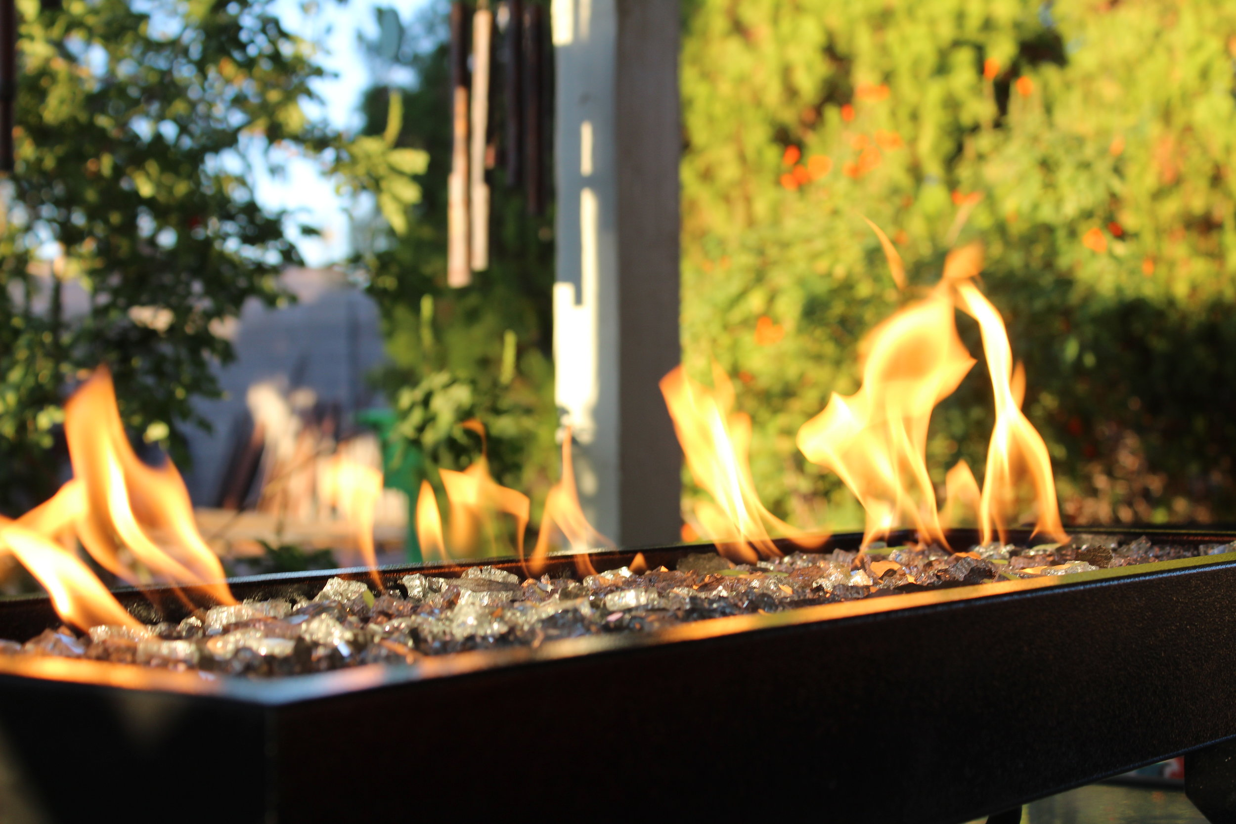 A Close up of a Table-Top Patio Fire Feature