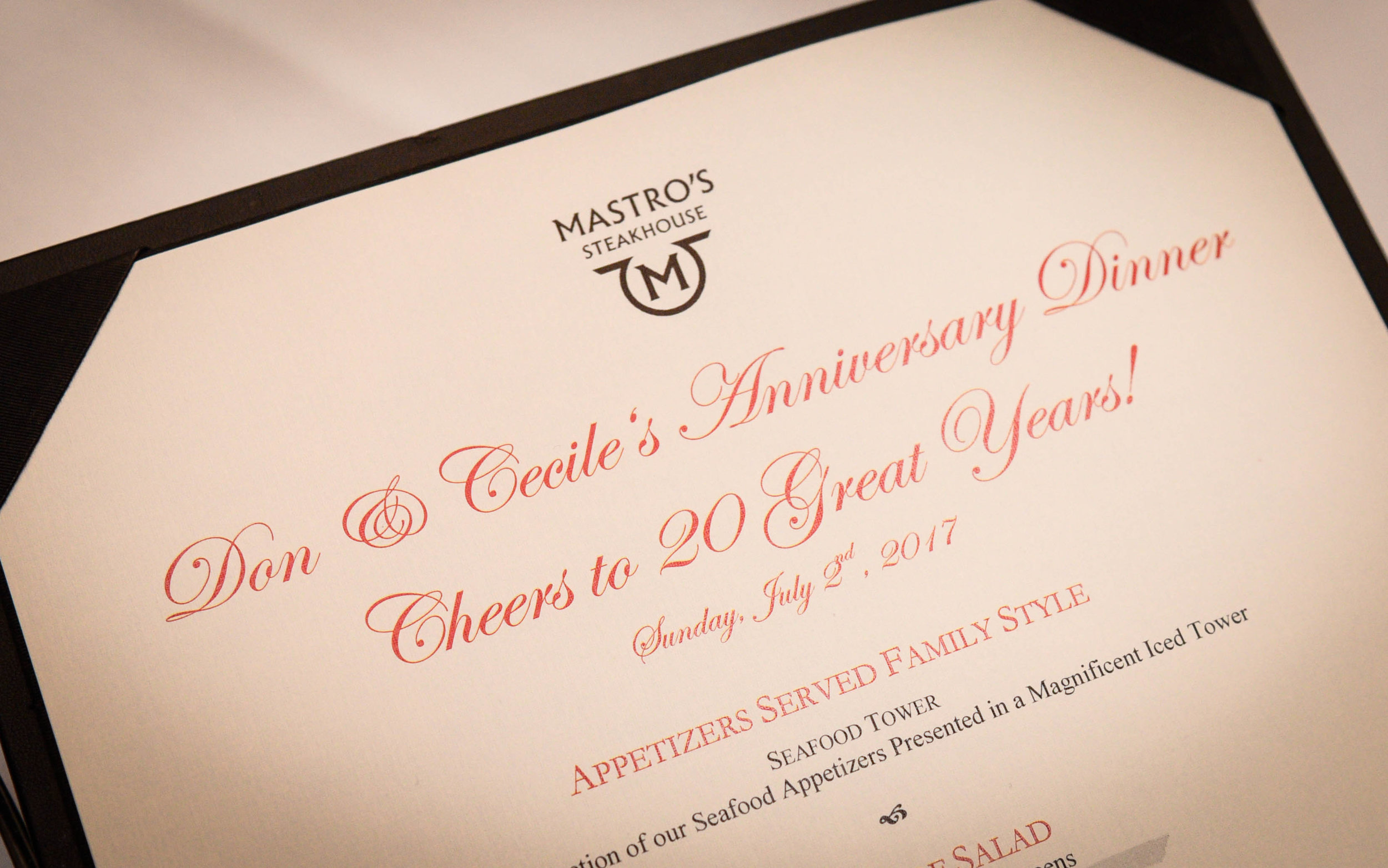 Anniversary party Mastro's Steakhouse beverly hills