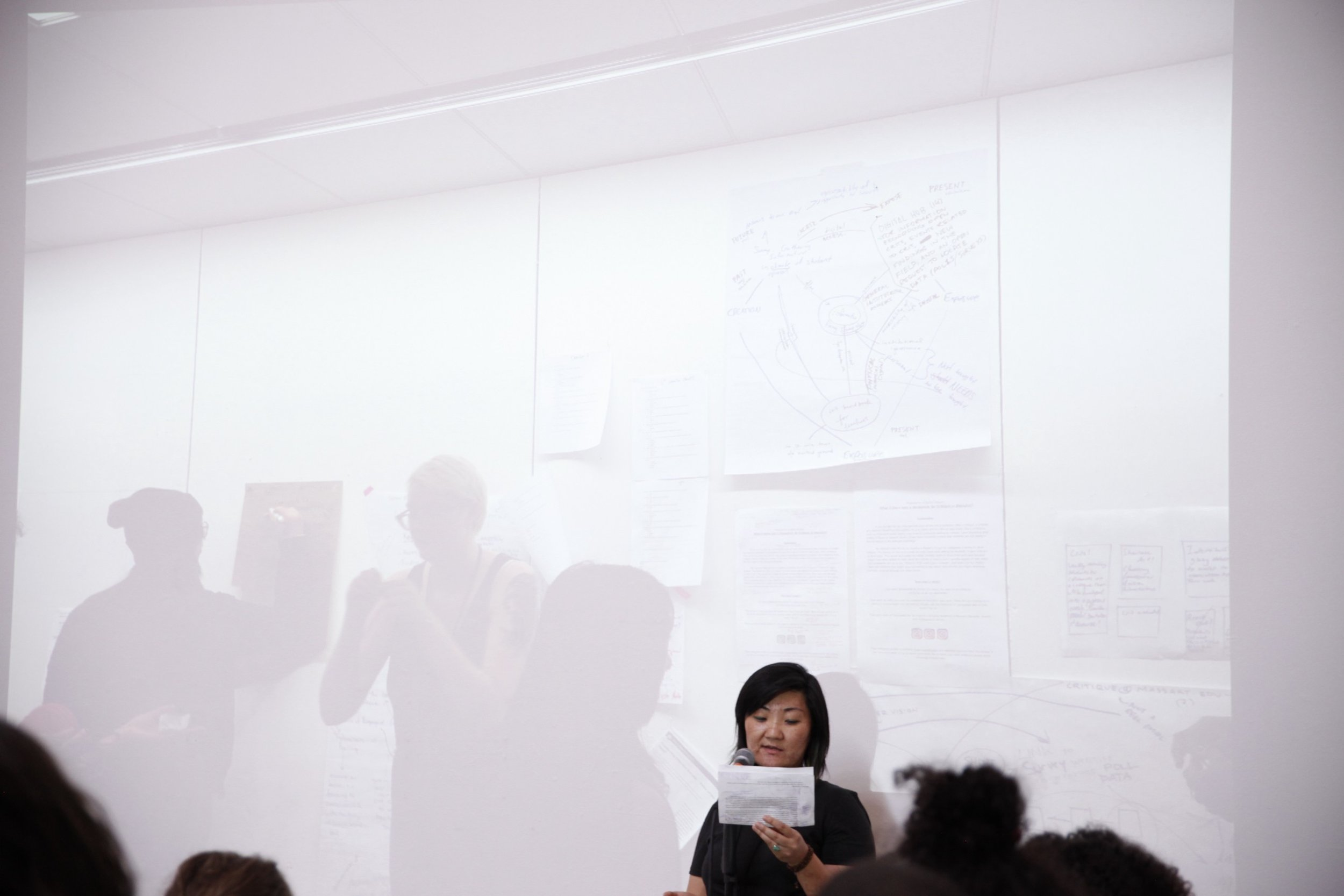 """Billie Lee, Assistant Professor at Hartford Art School, speaks during """"Retooling Critique,"""" presented alongside students, faculty, and administration from Massachusetts College of Art and Design."""