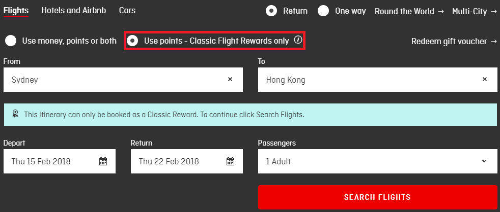 """Ensure you have selected the right search mode - """"Classic Flight Rewards"""""""