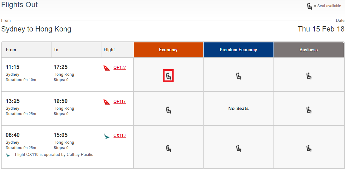 """Look for these little seat icons which represent the flight is available for booking (unlike """"No Seats"""", for the second row in Premium Economy)"""