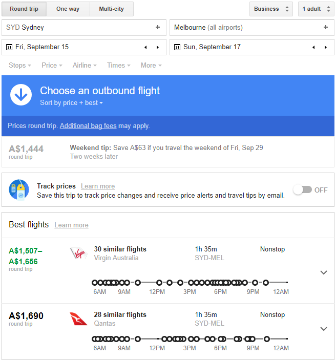$1507 for Business Class on a 1.5 hour flight? Would you  actually  pay that?