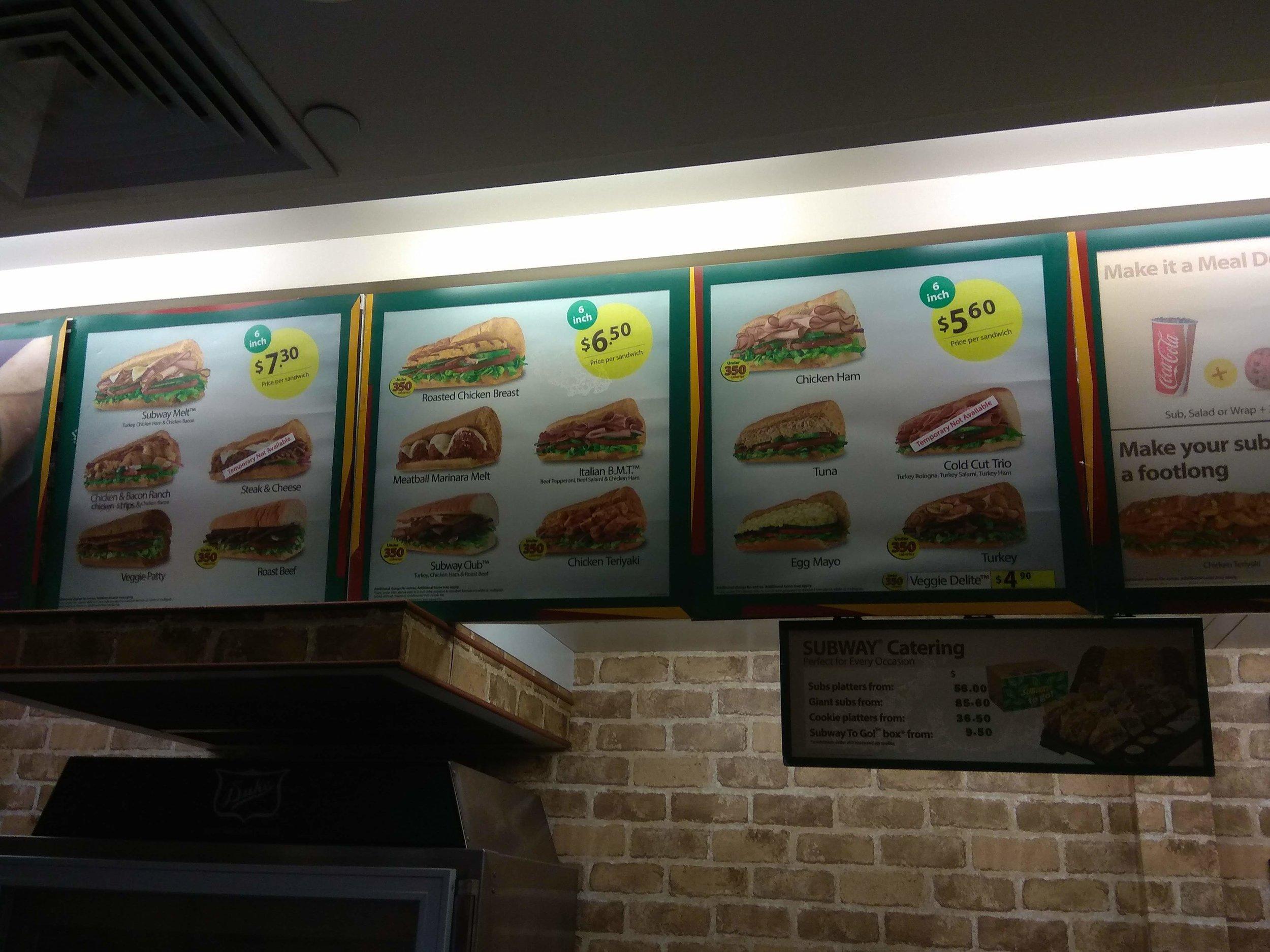 Subway Menu in a Singapore branch