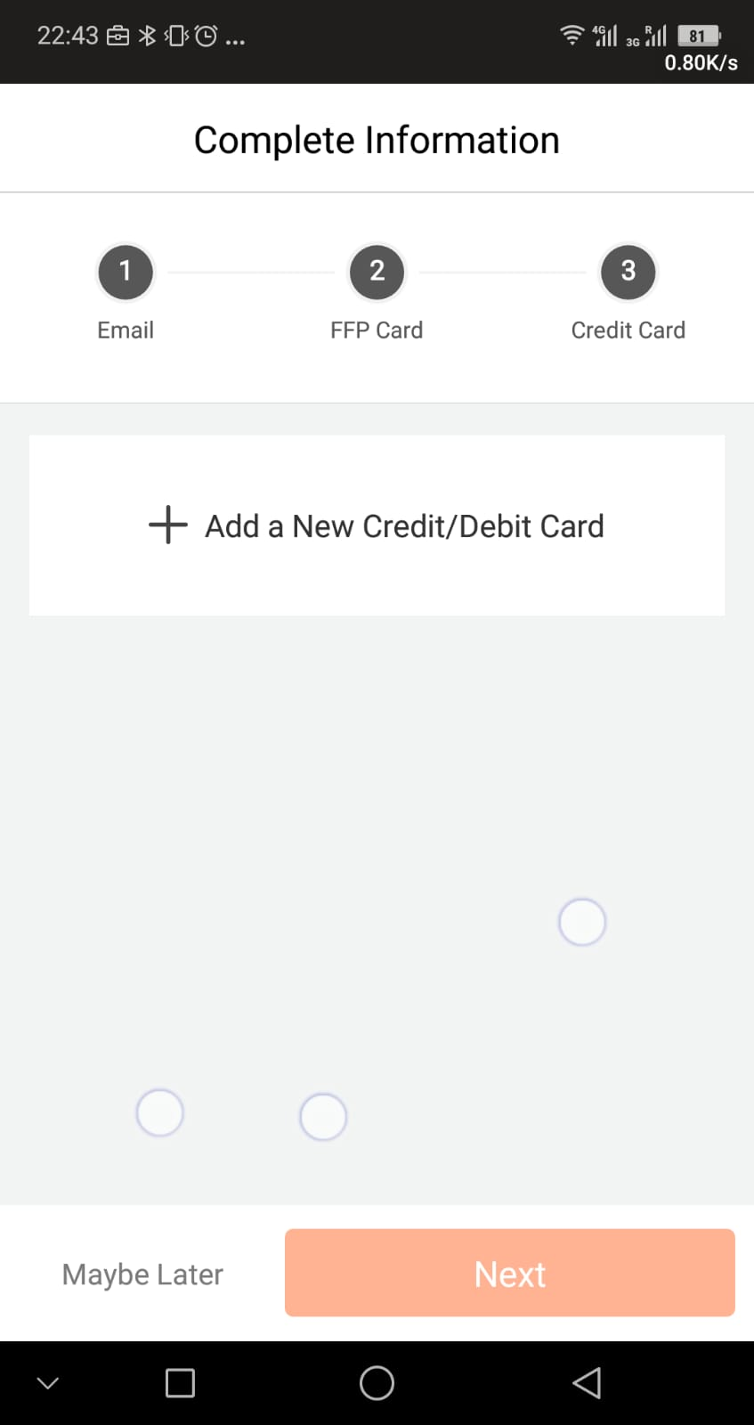 Payment Method - which you can add later